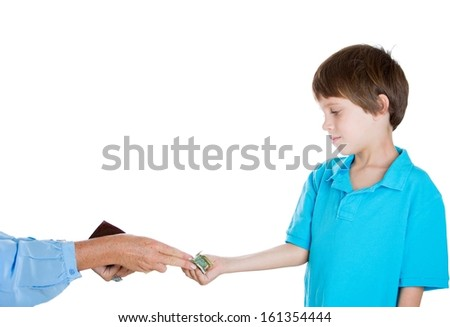Closeup portrait of adorable boy demanding money for allowance, woman pulls out money from wallet to give him, isolated on white background - stock photo