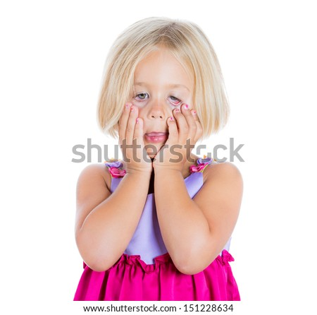 Closeup portrait of adorable, but sad and stressed girl pulling eyes down with fingers, isolated on white background - stock photo
