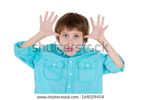 Closeup portrait of adorable kid in blue shirt sticking out tongue at you camera gesture thumbs hands on temple, isolated on white background with copy space. Negative human emotion facial expression - stock photo