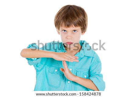Closeup portrait of adorable kid making a time out sign with his hands, isolated on white background - stock photo