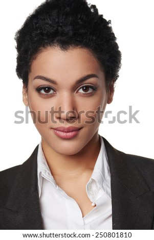 Closeup portrait of african american business woman looking serious and confident - stock photo