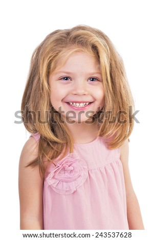 Closeup portrait of an adorable little girl smiling  isolated over white background - stock photo