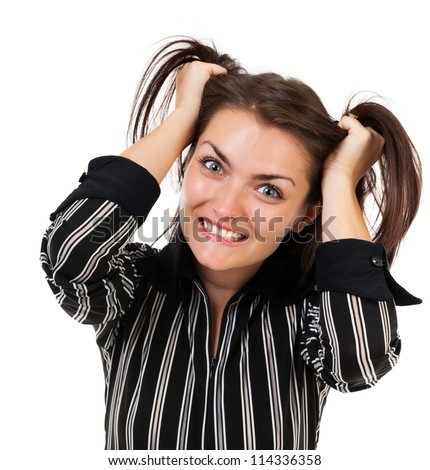 Closeup portrait of an angry businesswoman pulling her hair, isolated on white background - stock photo