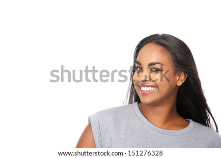 Closeup portrait of an attractive young woman smiling on isolated white background - stock photo