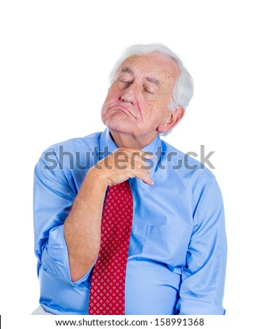 Closeup portrait of an elderly executive, old corporate employee, grandfather with closed eyes, in a melancholic mood, daydreaming, taking a nap, asleep, isolated on a white background. Human emotions - stock photo