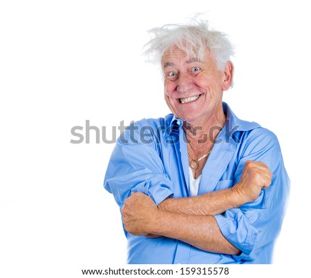Closeup portrait of an elderly, mad, looking crazy, desperate, old man, going insane, laughing, loosing his mind, isolated on white background with copy space. Human emotions, expressions, loneliness - stock photo