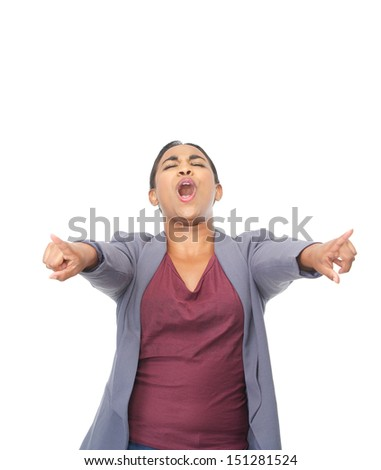 Closeup portrait of an excited young woman pointing fingers - stock photo