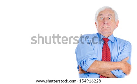 Closeup portrait of an executive, businessman, grandfather, senior man looking shocked and surprised almost to say really?you mean me? Isolated on white background with copy space. Conflict resolution - stock photo