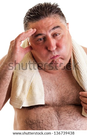 Closeup portrait of an exhausted fat man after doing exercises isolated on white background - stock photo