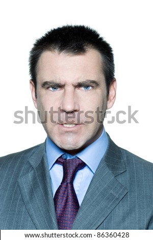 Closeup portrait of an expressive angry mature man in studio on isolated white background - stock photo