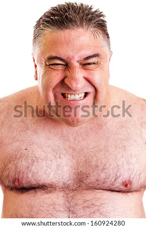 Closeup portrait of an expressive man isolated on white background - stock photo