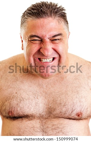 Closeup portrait of an expressive man over white background
