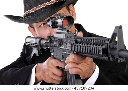 Closeup portrait of an old & experienced sniper aiming on his target, isolated on white background - stock photo
