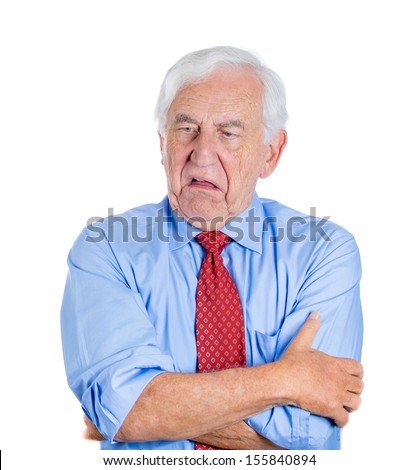 Closeup portrait of an old guy, senior executive, grandfather, with disgust on his face, something stinks,he is very displeased with the situation, isolated on white background. Interpersonal conflict - stock photo