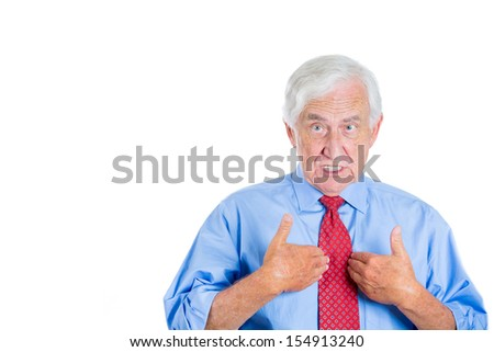 Closeup portrait of an unhappy senior man, executive, grandpa, pointing at himself as if to say, you mean me, you talking to me? Isolated on white background with copy space. - stock photo