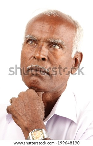 Closeup portrait of an unhappy senior man thinking daydreaming deeply bothered by something. - stock photo