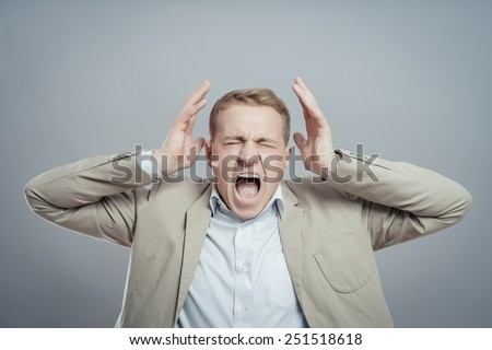 Closeup portrait of angry, frustrated man. Negative human emotions and facial expressions - stock photo