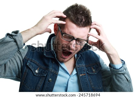Closeup portrait of angry frustrated man screaming - stock photo