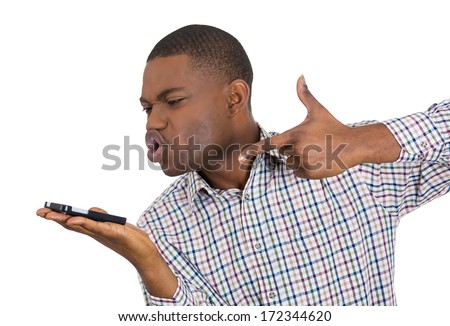 Closeup portrait of angry handsome young man, guy, pissed off student, mad worker, employee, unsatisfied customer, shouting while on phone, isolated on white background. Negative human emotions - stock photo