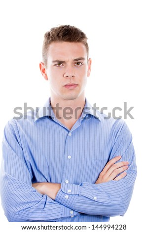 Closeup portrait of angry, mad businessman, isolated on white background with copy space - stock photo