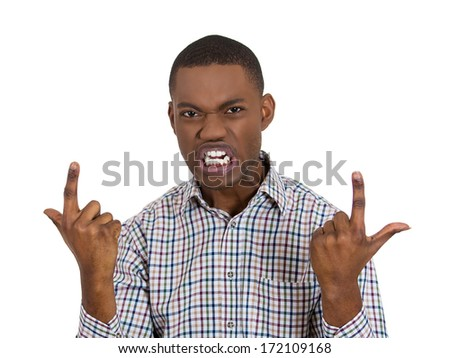 Closeup portrait of angry, mad young business man screaming, trying to prove his point, isolated on white background. Negative human face expression, emotions, feelings, attitude, reaction, perception - stock photo