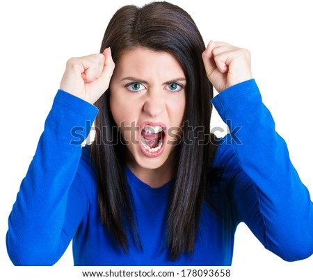 Closeup portrait of angry, sad, desperate student, mad young woman raising hands in air, screaming, having breakdown, isolated on white background. Negative human emotion, facial expressions, feelings - stock photo