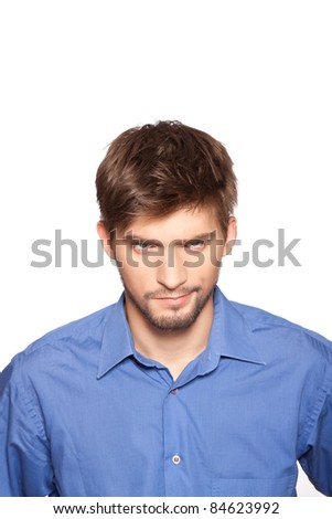 Closeup portrait of angry serious business man isolated over white background