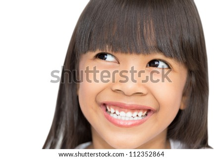 Closeup portrait of Asian little girl, Isolated on white - stock photo