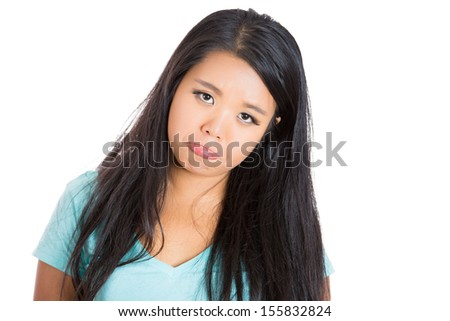 Closeup portrait of attractive beautiful woman making puppy dog face, isolated on white background - stock photo