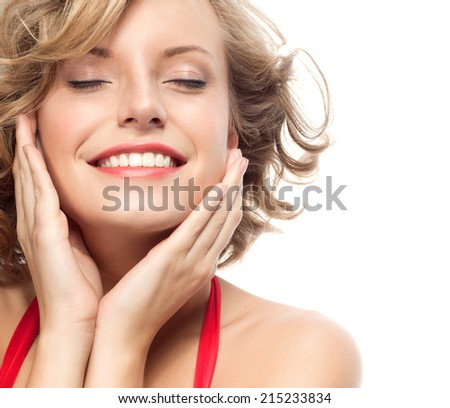 closeup portrait of attractive  caucasian smiling woman blond isolated on white studio shot lips toothy smile face hair head and shoulders looking at camera eyes closed