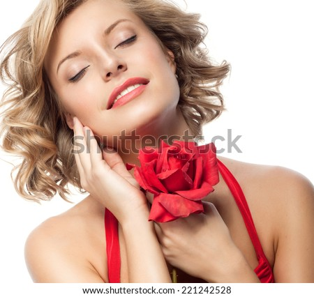 closeup portrait of attractive  caucasian smiling woman blond isolated on white studio shot lips toothy smile face hair head and shoulders eyes closed red rose flower - stock photo