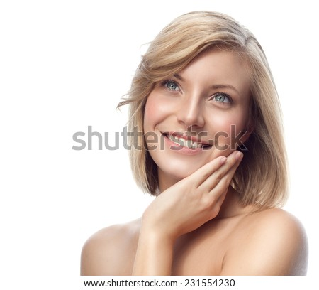 closeup portrait of attractive  caucasian smiling woman blond isolated on white studio shot lips toothy smile face hair head and shoulders looking up blue eyes tooth - stock photo
