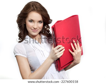 closeup portrait of attractive  caucasian smiling woman brunette isolated on white studio shot  face hair head and shoulders looking at camera businesswoman papers folders