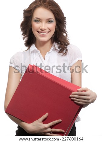 closeup portrait of attractive  caucasian smiling woman brunette isolated on white studio shot toothy smile face hair head and shoulders looking at camera businesswoman papers folders - stock photo