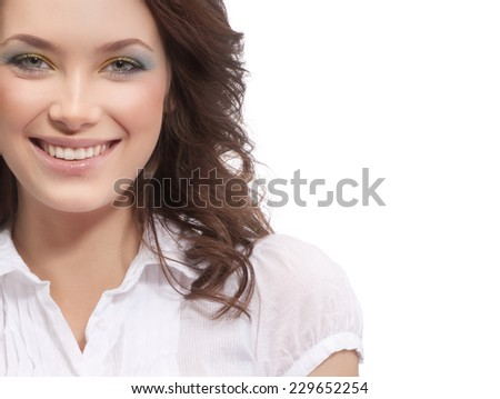 closeup portrait of attractive  caucasian smiling woman brunette isolated on white studio shot toothy smile face hair head and shoulders looking at camera businesswoman - stock photo