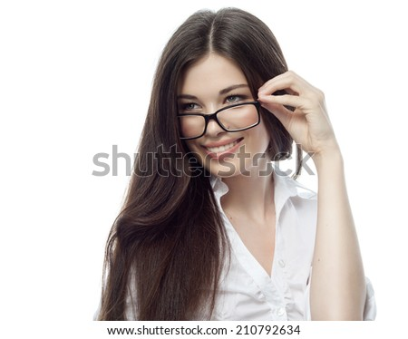 closeup portrait of attractive  caucasian smiling woman brunette isolated on white studio shot lips toothy smile face hair head and shoulders glasses businesswoman - stock photo
