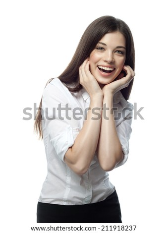 closeup portrait of attractive  caucasian smiling woman brunette isolated on white studio shot lips toothy smile face hair head and shoulders looking at camera tooth businesswoman