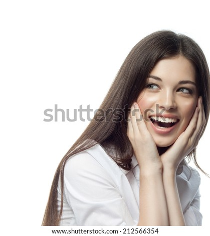 closeup portrait of attractive  caucasian smiling woman brunette isolated on white studio shot lips toothy smile face hair head and shoulders tooth businesswoman - stock photo