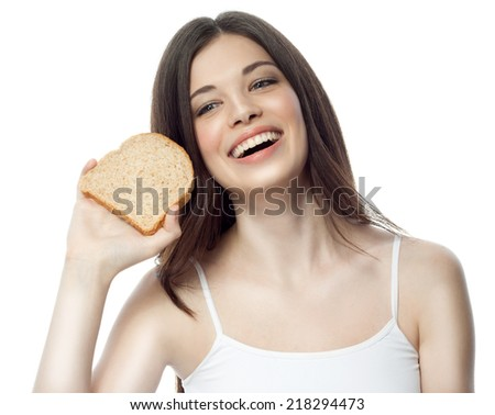 closeup portrait of attractive  caucasian smiling woman brunette isolated on white studio shot lips toothy smile face hair head and shoulders diet bread
