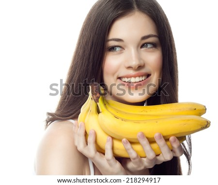 closeup portrait of attractive  caucasian smiling woman brunette isolated on white studio shot lips toothy smile face hair head and shoulders  tooth bananas