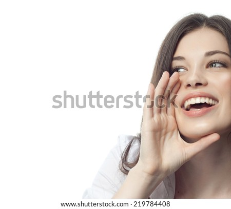 closeup portrait of attractive  caucasian smiling woman brunette isolated on white studio shot lips toothy smile face hair head and shoulders  tooth hand businesswoman - stock photo