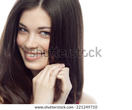 closeup portrait of attractive  caucasian smiling woman brunette isolated on white studio shot lips toothy smile face hair head and shoulders looking at camera tooth body figure