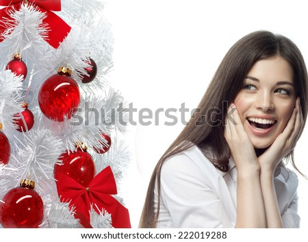 closeup portrait of attractive  caucasian smiling woman brunette isolated on white studio shot lips toothy smile face hair head and shoulders tooth christmas - stock photo