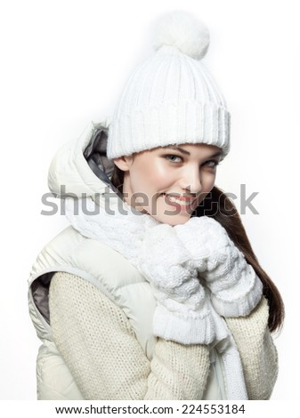 closeup portrait of attractive  caucasian smiling woman brunette isolated on white studio shot lips toothy smile face hair head and shoulders looking at camera tooth winter christmas - stock photo