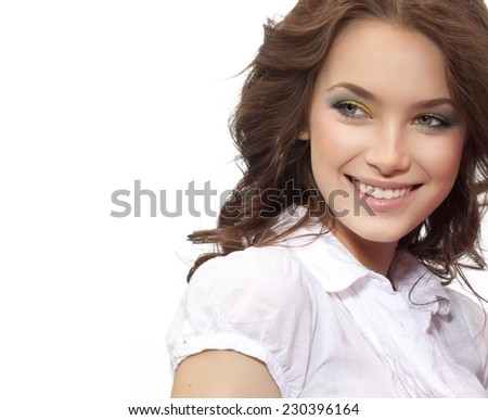 closeup portrait of attractive  caucasian smiling woman brunette isolated on white studio shot lips toothy smile face hair head and shoulders  tooth - stock photo
