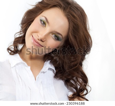 closeup portrait of attractive  caucasian smiling woman brunette isolated on white studio shot lips toothy smile face hair looking at camera businesswoman - stock photo