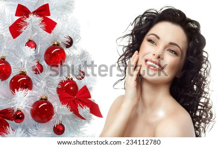 closeup portrait of attractive  caucasian smiling woman brunette isolated on white studio shot lips toothy smile face hair head and shoulders  tooth christmas tree new year - stock photo