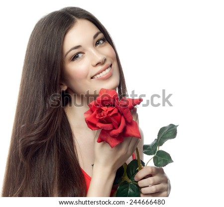 closeup portrait of attractive  caucasian smiling woman brunette isolated on white studio shot lips toothy smile face hair head and shoulders looking at camera tooth red rose flower figure body - stock photo