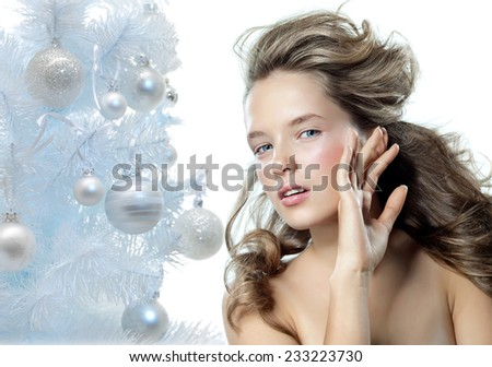 closeup portrait of attractive  caucasian woman  - stock photo