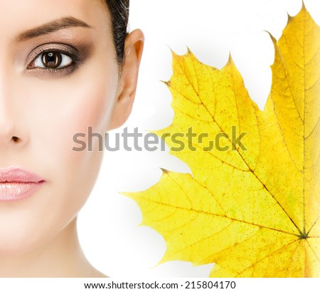 closeup portrait of attractive  caucasian woman brunette isolated on white  - stock photo